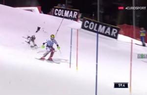 drone crash skieur